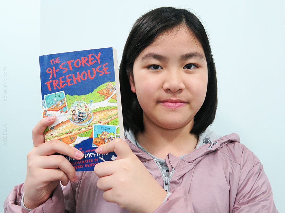 Alina L. selected this copy of 'The 91-Storey Treehouse' after filling up her rewards card.