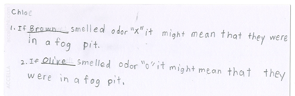 Chloe C.'s correct answers to the two fill-in-the-blank questions posed to her and her classmates after they'd had a chance to smell odor 'X' (peppermint essence) and odor 'O' (caramel sauce).