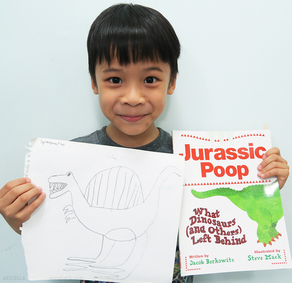 We hope that Luke's interest in dinosaurs has been enriched by his reading of 'JURASSIC POOP'!