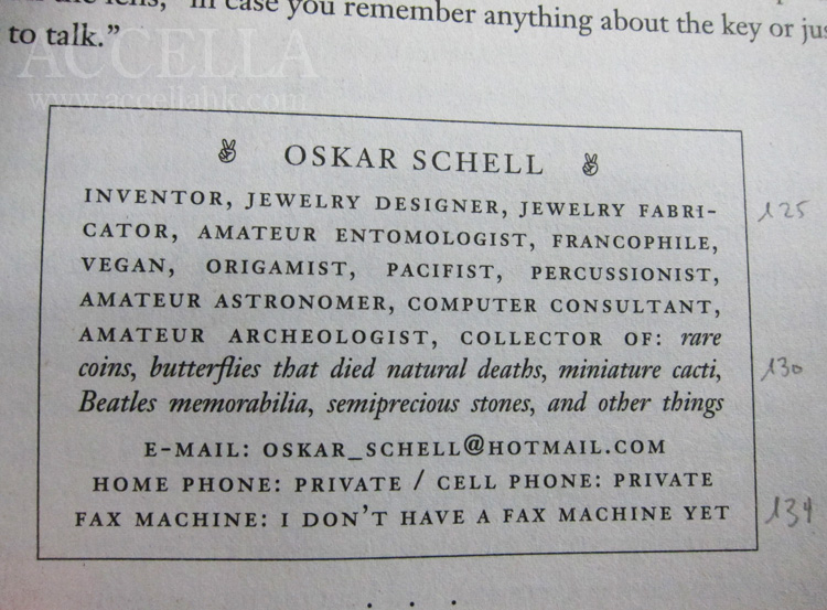 Oskar Schell's business card.