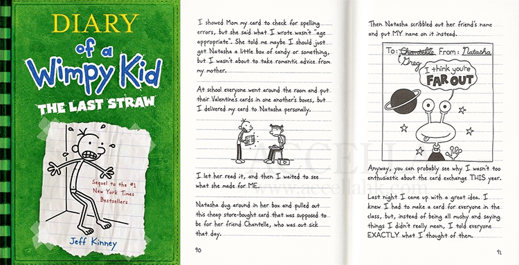 Excerpt from 'Diary of a Wimpy Kid: The Last Straw' concerning Greg Heffley's V-day card plot. Click through for a slightly larger version of this image.
