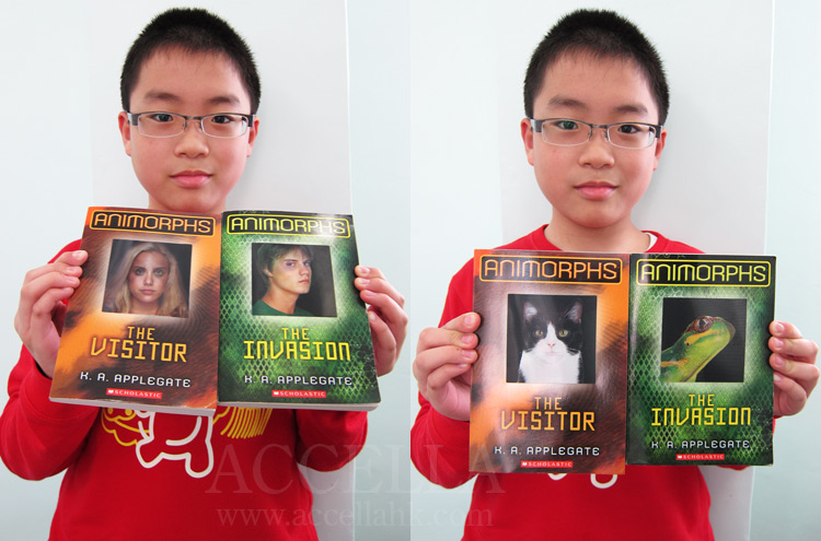 Bryan F holding copies of the first and second Animorphs books.