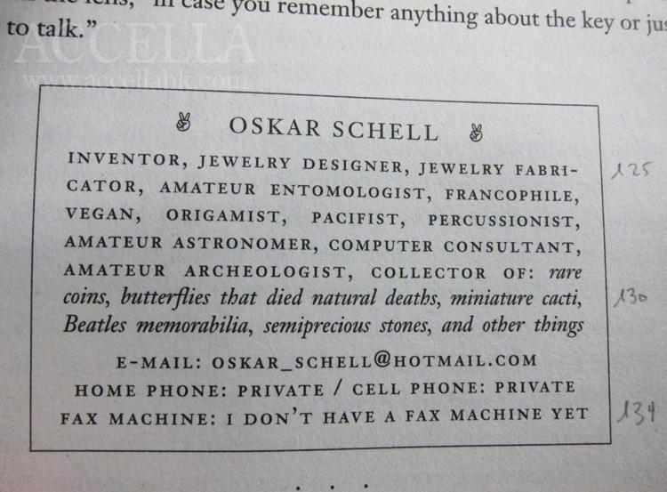 Oskar Schell's business card.