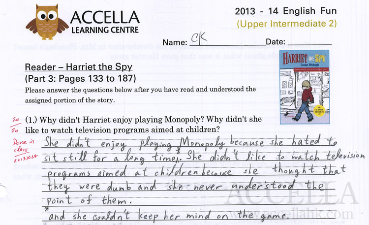 Ching Kiu's answer to the first of the reading comprehension homework questions for her class's third reading from'Harriet the Spy' earned full marks. Great work, Ching Kiu!