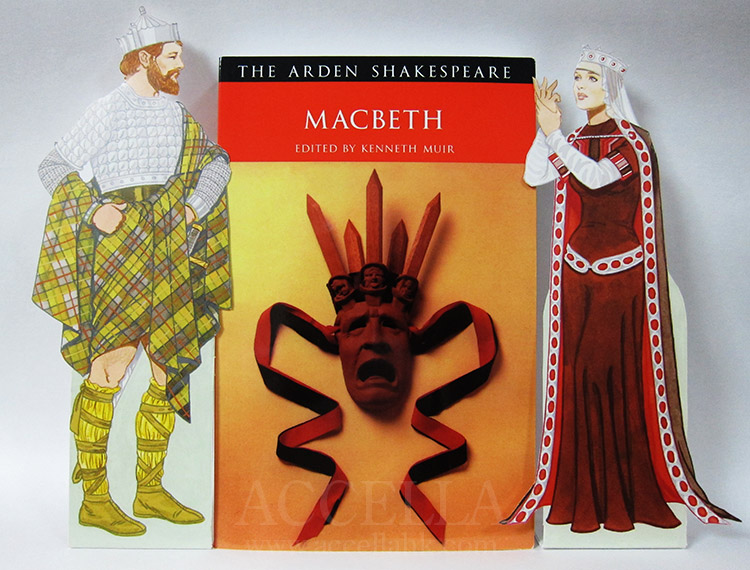 The Arden Shakespeare edition of 'Macbeth', flanked by Macbeth and Lady Macbeth, in paper doll form
