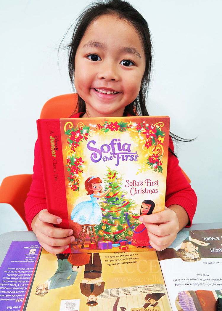 One of our newest, and youngest, learners just earned herself a copy of a 'Sofia the First' storybook.