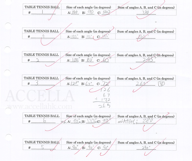 Answers to the elliptical-space triangle quiz question in one section of our Upper Intermediate I classes.
